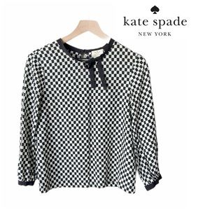 Kate spade silk blend blouse with bow collar